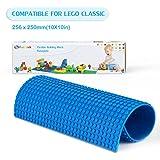 Placa base para construcción(25*50cm),Fansteck Base para construir Lego, Silicona autoadhesivo, fácil de cortar, aplicale a Lego Duplo y Mega Blocks. Compatible con todas grandes marcas. Punto grande