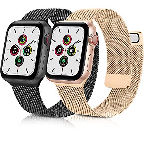 AYOU 2 Pack Correa Compatible con Correa Apple Watch 38mm 40mm 42mm 44mm, Nueva Pulsera de Repuesto Metal de Acero Inoxidable con Doble Imán para iWatch Series SE 6 5 4 3 2 1