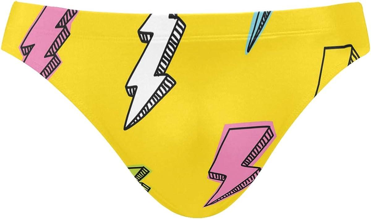 ALAZA Men's Colored Geometry Lines 80s Swim Briefs Swimsuit Bikini Drawstring Swimwear Sexy Bathing Suit S-3XL