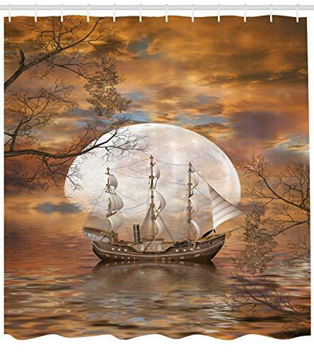 weifei888 Onda de Agua de mástil y velero con Juegos de Cortinas de Ducha de Tela de Luna Llena