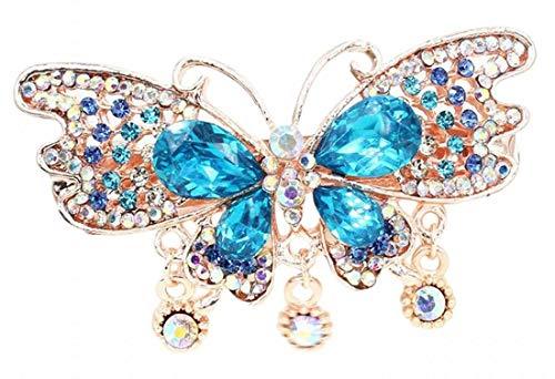 Plus Nao(プラスナオ) ヘアクリップ レディース 髪飾り バタフライ 蝶々 ヘアアクセサリー 髪留め ビジュー きれい かわいい 上品 お呼ばれ - ブルー