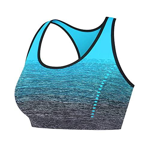 Libella Mujer Sujetador Deportivo Push Up Bustier con Amplio Correas Fitness Yoga Camisetas Sin Mangas 3738 AzulL/XL