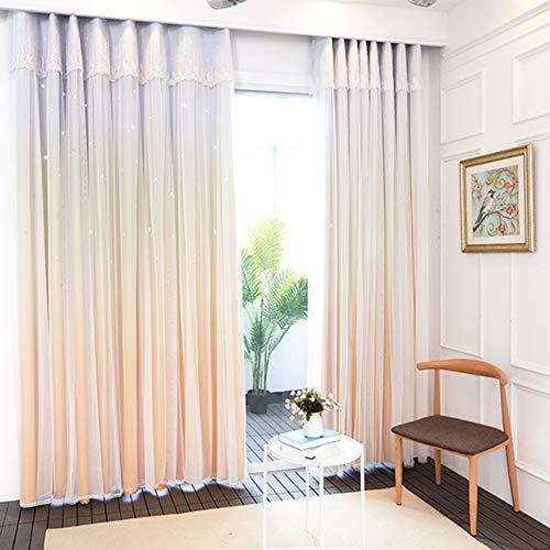 SXCDD Prinzessin Stil Verdunklungsvorhänge,Hohlsterne Bunte Steigung Bay-Fenster Vorhänge,Blackout Fensterdekoration,1stk A 200x270cm(79x106inch)