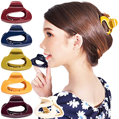 RC ROCHE ORNAMENT 6 Pcs Womens Firm Interlocking Claw Beautiful Tousled Half Up Bun Maker Girls Beauty Accessory Cute Styling French Tortoise Shell Plastic Hair Clips, Medium Classic Multicolor