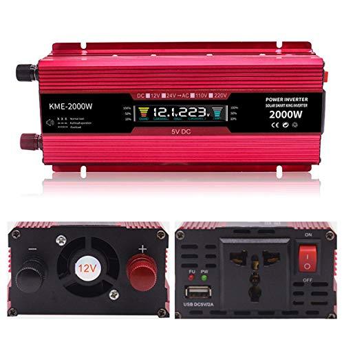 Transformadores Inversor de Corriente 500W / 600W / 1200W / 2000W DC 12V a AC 110V 220V Convertidor de automóvil Inversores con Enchufe Universal Pantalla LCD Convertidor de Voltaje