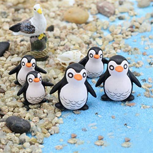 BESTIM INCUK Miniatur-Dekofiguren für Feengarten, 5 Stück, niedliche Pinguine aus Kunstharz für DIY Miniatur-Garten, Terrarium, Puppenhaus, Heimdekoration