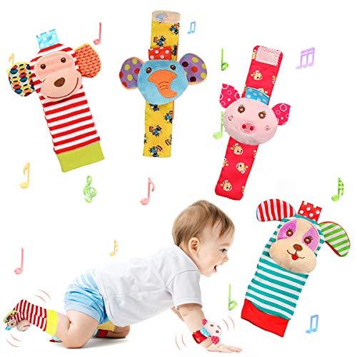 JOYLEX Baby Rattle Toys Soft Foot Finder Socks Wrists Rattles Ankle Leg Hand Arm Bracelet Activity Rattle Baby Shower Present Essentials for Neborn Baby Infant Boy Girl Bebe