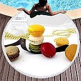 Vanzelu Toalla De Playa Tropical con Filtro Solar, Toalla De Playa De Microfibra, Serie Macaron De Color, Alfombra Acolchada