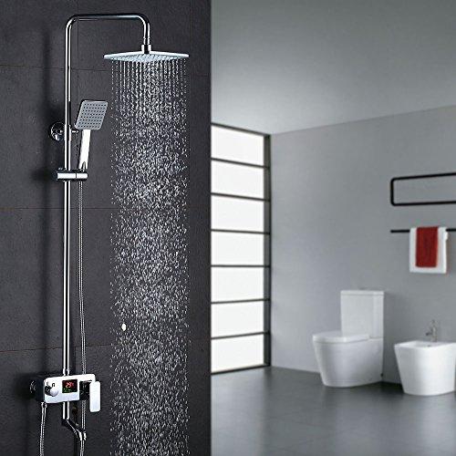 Homelody 3-Wege Duschsystem LCD Temperatur-Anzeige Duscharmatur mit Rainshower Regendusche Handbrause Duschkopf Dusche Armatur und Badewanne Duschset f. Bad
