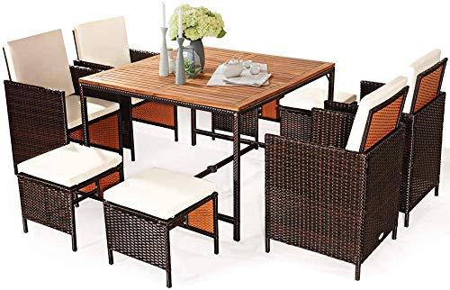 YRRA 9 Stück Akazie Holz Terrasse Speisen Set Platz Rettung Weidenstühle und Holztisch mit Regenschirm Loch Gartenmöbel Set Geeignete Sitzplätze im Freien (weiß)-Weiß