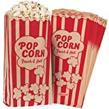 Popcorn Bags 1.5oz Vintage Retro Style - Coated Oil/Grease Proof - Prevent Salt Popcorn Seasoning Popcorn Kernels & Pop Corn Oil to Drop - for any Popcorn Machine (Kraft / Red 10X4'(Medium)125pcs set)