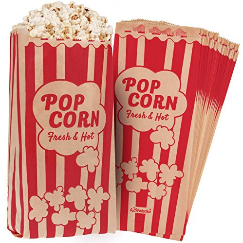 Lot de 125 sacs à pop-corn de style rétro vintage – Revêtement résistant à l'huile et à la graisse – Empêche le sel et l'assaisonnement du popcorn – pour toute machine à popcorn (kraft/rouge 25x10cm