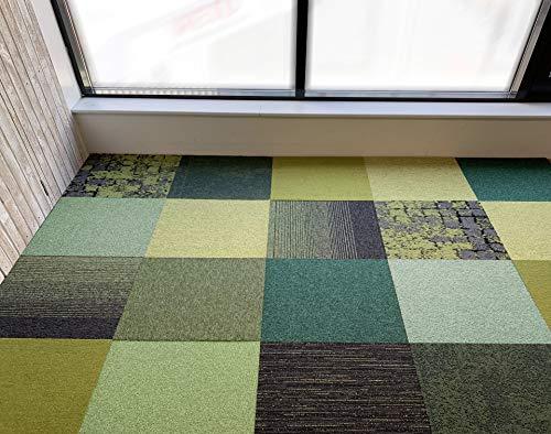 Teppichfliesen Shades of. by Interface | Selbstliegend Bodenfliesen Teppich | 50x50 cm | Pro Karton 16 Stück = 4m2 (Green)