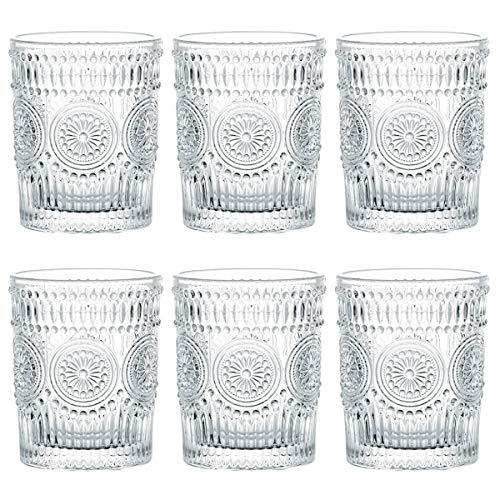 Kingrol Lot de 6 verres à eau romantiques de 270 ml - Qualité supérieure - Verres vintage pour jus, boissons, bière, cocktails