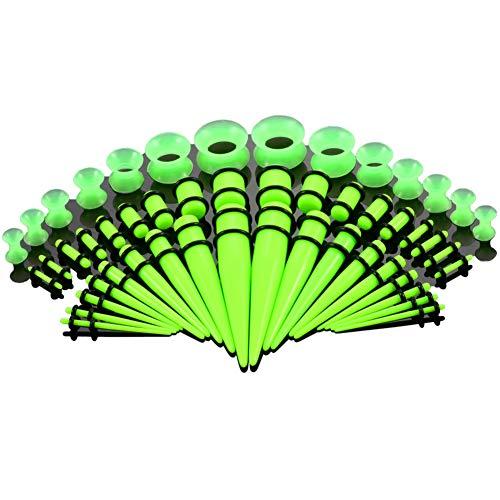 Kit de dilatadores de oreja, kit de piercings, 1,6 a 12 mm, 18 unidades de conos acrílicos con anillos dobles, 14 túneles acampanados de silicona, 18 tapones con doble junta tórica, verde fluorescente