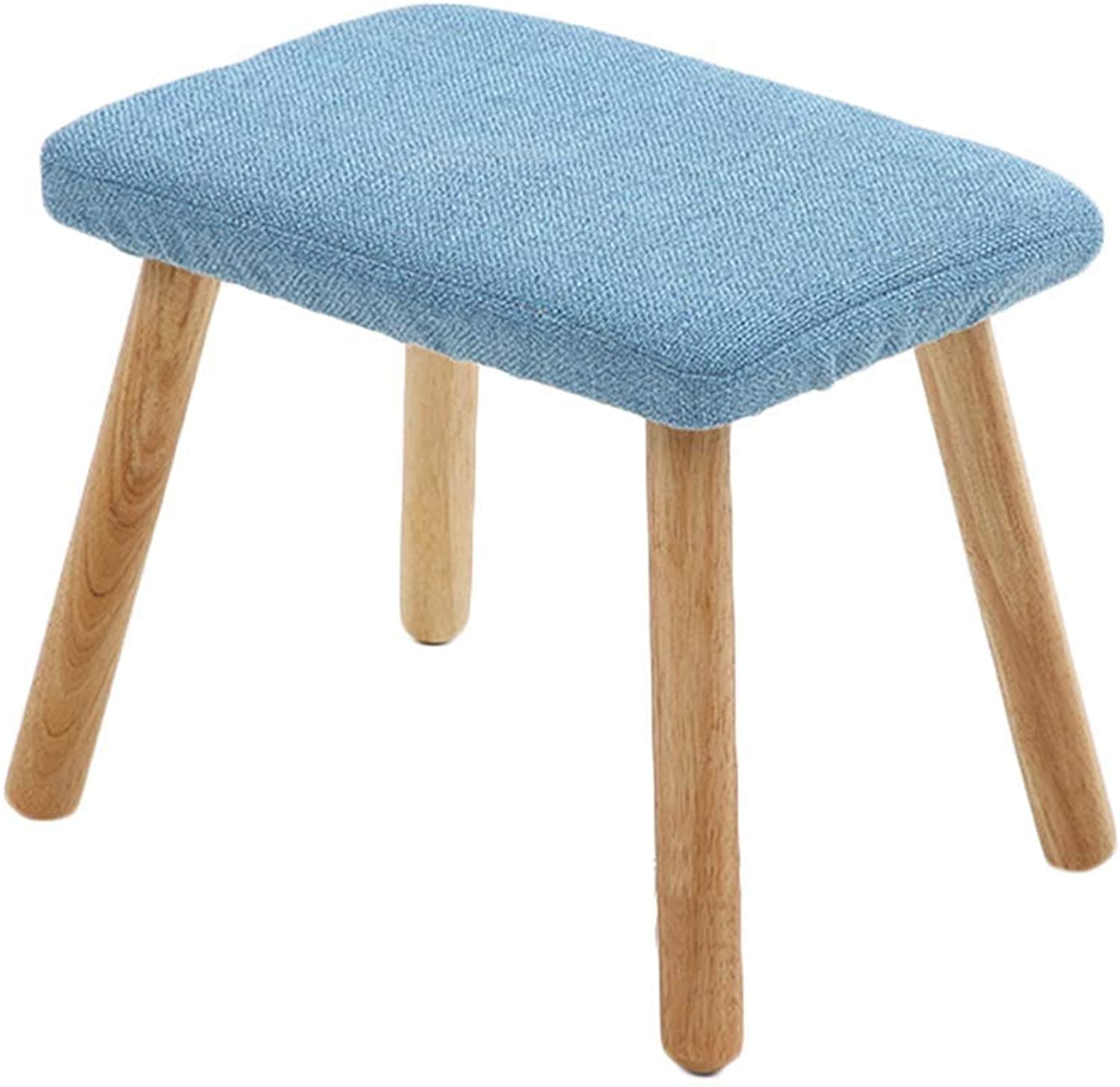 RMJAI Small seat shoes Bench Solid Wood Living Room Bedroom Sofa Stool Linen Rectangle Footstools Wooden 4 Legs 13.3x10.6x11 Inches (color   bluee)