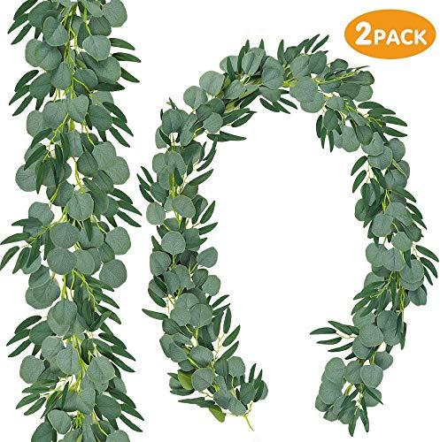 Kyrieval 2 Stück 6,2 Fuß Eukalyptus Künstlicher Silberdollar-Eukalyptus Girlande Grün Hinterlässt Künstliche mit Weidenreben für Hochzeitsdekoration