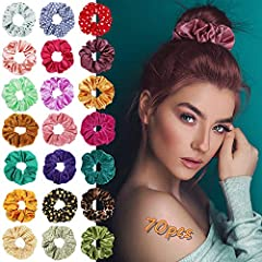 ֎ What You Get – a variety of 70 styles and patterns to match your outfit.,25*Velvet Hair Tie ,25*Satin hair bands ,20* Flower chiffon ponytail holders.The three materials scrunchies are suitable for all seasons, and you can make yourself more charmi...