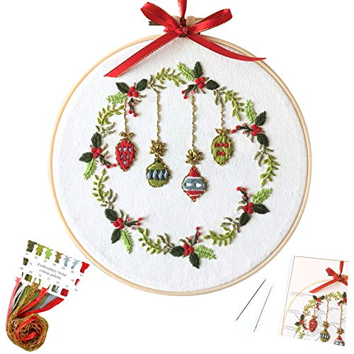 Uphome Embroidery Kit Stamped Cross Stitch Kits DIY Christmas Floral Pattern Embroidery Starter Kit 7.9 Inch Hand Needlepoint with Hoop and Color Threads for Beginners Adults Kids Wall Decor