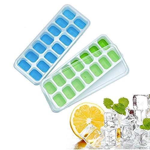 Hapop Eiswürfelform,Silikon Eiswuerfel Form Eiswuerfelbehaelter mit Deckel,14-Fach DIY Silikon Eiswürfelschalen,BPA Frei, Eiswürfelbox für Whisky,Cocktails,Soda,Cola, 2-Stück(Blau und Grün)