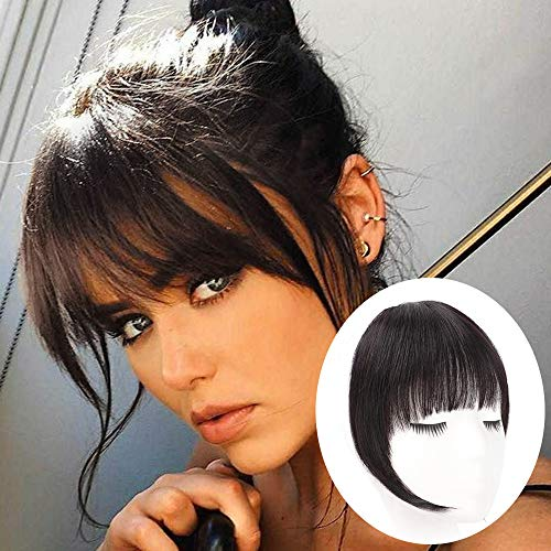 GongXiu Clip in Bangs Real Human Hair Extensions Natural Black Bangs Hair Clip in Fringe Straight Flat Bangs with Temples for Women (Natural Color)