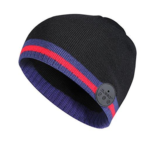Blue Ear® Bluetooth-Mütze, kabellos, gestrickt, Wintermütze, mit Stereo-Lautsprechern, 200 mAh Akku, bis zu 8 Stunden Spielzeit, perfekt für Outdoor-Übungen und Workout (H1N Rot)