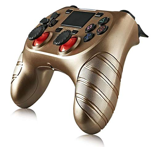 Wireless Controller for PS4, Dual Vibration Wireless Gamepad Controller Remote Joystick for Playstation 4/Pro/Slim with Motion Motors, Audio Function and USB Cable (Gold)