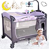 Baby Crib Travel Cot Bed Playpen with Bassinet, Changing Table, Wheels and Brake, Portable Design with Carry Bag, Nursery Center for Boys and Girls with Toys & Music (Grey)