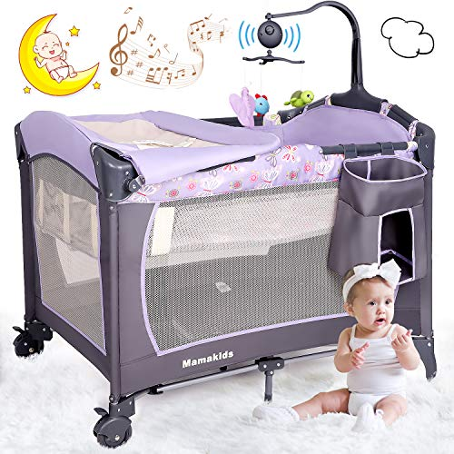 Baby Crib Travel Cot Bed Playpen with Bassinet, Changing Table, Wheels and...
