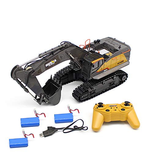 DSstyles HuiNa 1:14 1592 RC Alloy Excavator 22CH Big RC Trucks Simulation Excavator Remote Control Vehicle Toy for Boys 3 Batteries