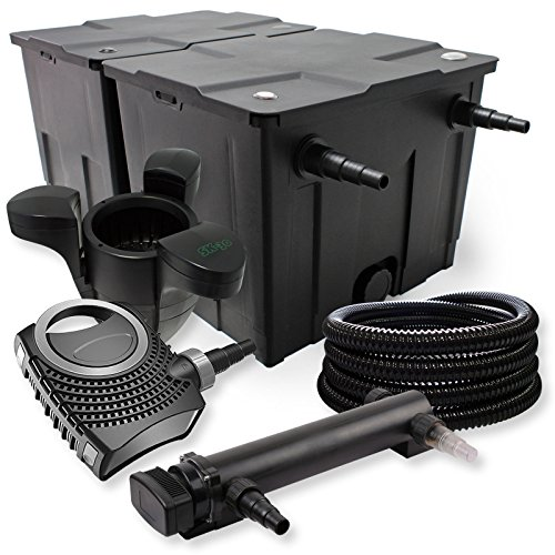 SunSun Kit de Filtration de Bassin 60000l 24W UV Stérilisateur NEO7000 50W Pompe Tuyau et Skimmer