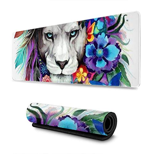 Individuality Watercolor Lion with Flowers Design Pattern XXL XL Large Gaming Mouse Pad Mat Long Extended Mousepad Desk Pad Non-Slip Rubber Mice Pads Stitched Edges (31.5x11.8x0.12 Inch)