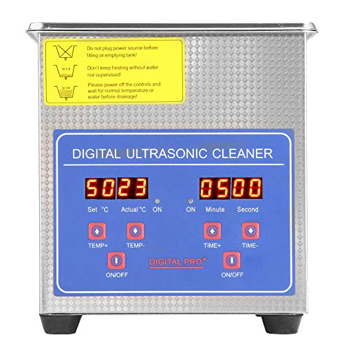 Pulitore ad Ultrasuoni, Professionale Ultrasonic Dispositivo Cleaner Riscaldatore in Acciaio Inossidabile con Timer Digitale Display Sensore Temperatura e Cesto (1.3L)