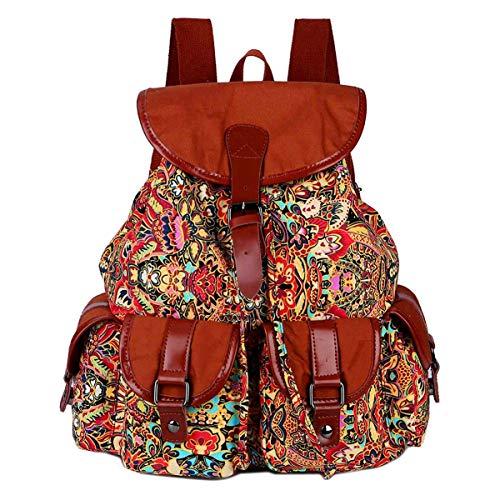 BAOSHA Vintage Canvas Rucksäcke Studenten Backpack Campus Schultaschen Schulrucksack für Frauen & Damen BP-01 (Blumen)