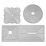 4 pezzi Fustelle modello di punzonatura set geometrico taglio muore cornice circolare quadrati quadrate rettangolare stencil Fustella per scrapbooking album embossing carte carta artigianato d'arte