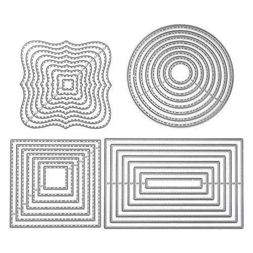 4 Stück Stanzschablone Geometrisch Set Stanzformen Kreis Rahmen Quadratisch Rechteckig Schneiden Prägeschablonen Prägung Schablone Stanzschablonen für Scrapbooking Album Papier Karten Kunst Basteln