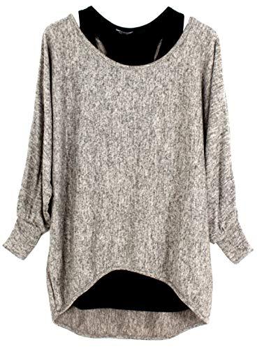 Emma & Giovanni - Damen Oversize Oberteile Tshirt/Pullover (2 Stück) / Made In Italy, XL-XXL, Hellbeige