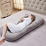 VECELO C-Shaped Pregnancy Full Maternity Pillow with with Zipper Removable Cover, Body Pain Relief, Gray