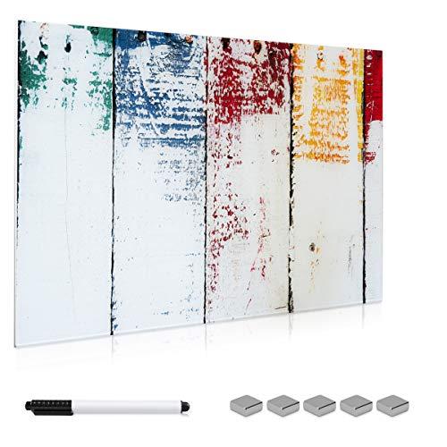 Navaris Tablero magnético de Cristal de 90x60CM - Pizarra magnética de Vidrio con diseño de Pared Pintada- Tablero de Notas con Marcador e imanes