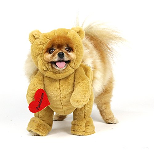 Pandaloon Brown Teddy Bear Dog and Pet Costume Set - Walking Teddy Bear with Arms (Size 2 (15-17 in...