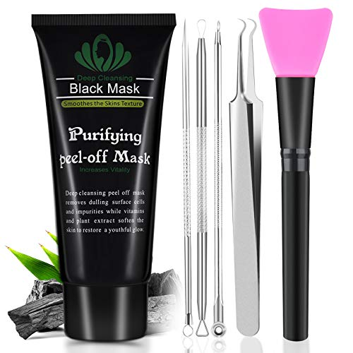 Blackhead Remover Mask, Blackhead Peel Off Face Mask 3-in-1 Blackhead Remover Charcoal Mask with Blackhead & Pimple Comedone Extractors and Silicone Brush,Deep Cleansing Black Mask