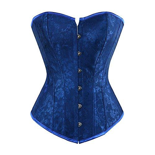 DISSA Blume Tapestry Damen Corsage Korsett mit G-String,Blau,M