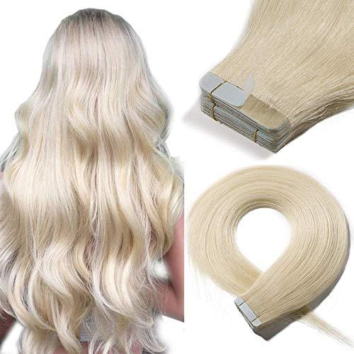 SEGO Tape in Extensions Echthaar 20 Tressen 50g Haarverlängerung Klebe Haarteil Remy Haar [mit 10pcs free Tapes] Platinumblond#60-1 14