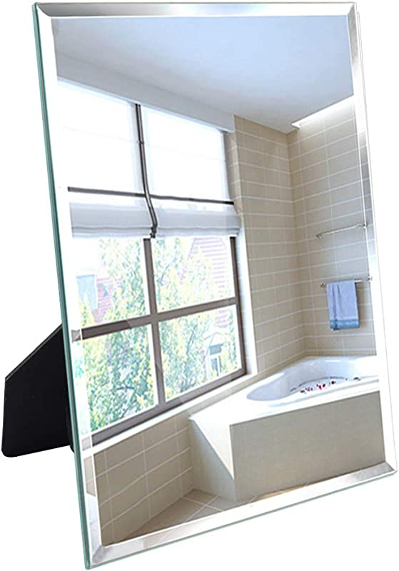 Artsay Frameless Mirror Wall Hanging And Desk Standing Compatible With Makeup Vanity Mirrors 10 6x13 Inch