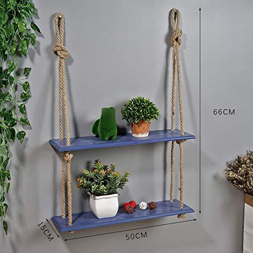 Badkamerrek, combinatie van boekenkast, vrijstaand, massief hout, wandplank (kleur: wit, maat: 1 niveau) 2 tier Blauw