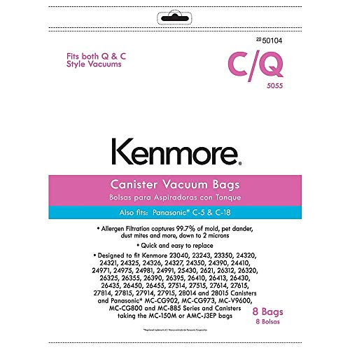 Kenmore 50104 8 Pack Style C/Q Canister Vacuum Bags