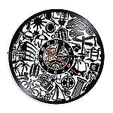 SSCLOCK Wanduhr, Besichtigung, Wanduhr, Reise, Graffiti, Schallplatte, Wanduhr, Reiseplaner, dekorative Uhr