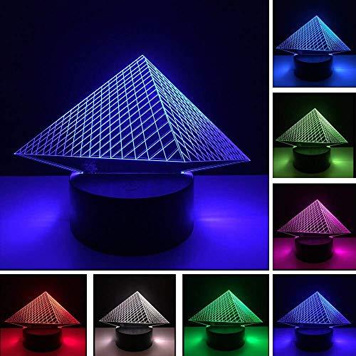 Unieke Piramide 3D USB Led Nachtlampje 7 Kleuren Veranderende Kerstsfeer Kinderen Kinderen Woonkamer/Slaapkamer Tafel/Leeslamp