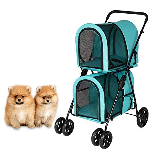 Kintness Double Pet Stroller for 2 Dogs & Cats Foldable Lightweight Dog Carrier Trolley Jogging Stroller