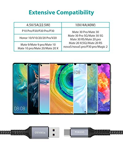 Nimaso Huawei USB C Kabel 5A [2Pack/2M+2M], USB Typ C Ladekabel 40W Super Charge Datenkabel für Huawei P30 Pro,P30,P20 Lite,Mate 20 Pro,Mate 20,Mate 20 RS,nova 5 Pro,Honor 20 Pro,Honor 20 etc - 6